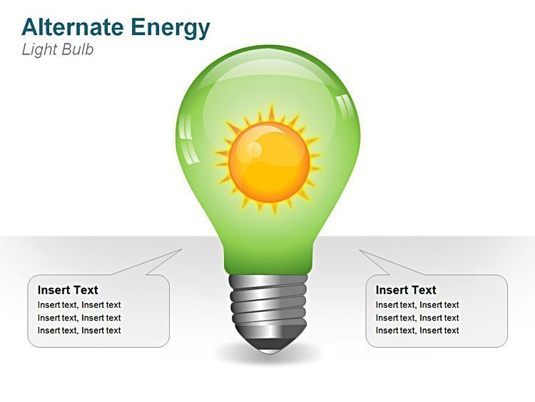 Green Energy Bulb for PPT Template