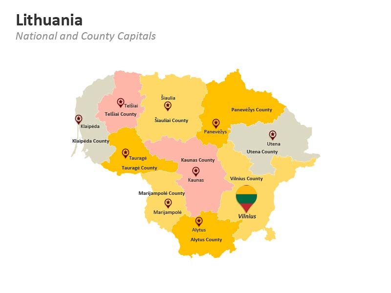 Lithuania National Capital Vilnius PPT Map