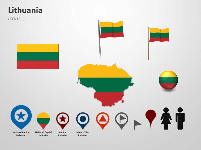 Lithuania National Flag-Themed Icons PPT