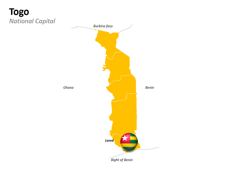 Togo with National Capital Lomé - Editable PowerPoint Slide