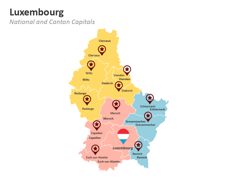 Luxembourg Canton Map PPT Slide