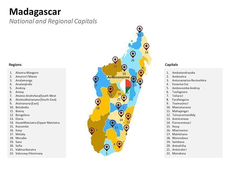 Madagascar with Regions Capitals Map - PPT Slide
