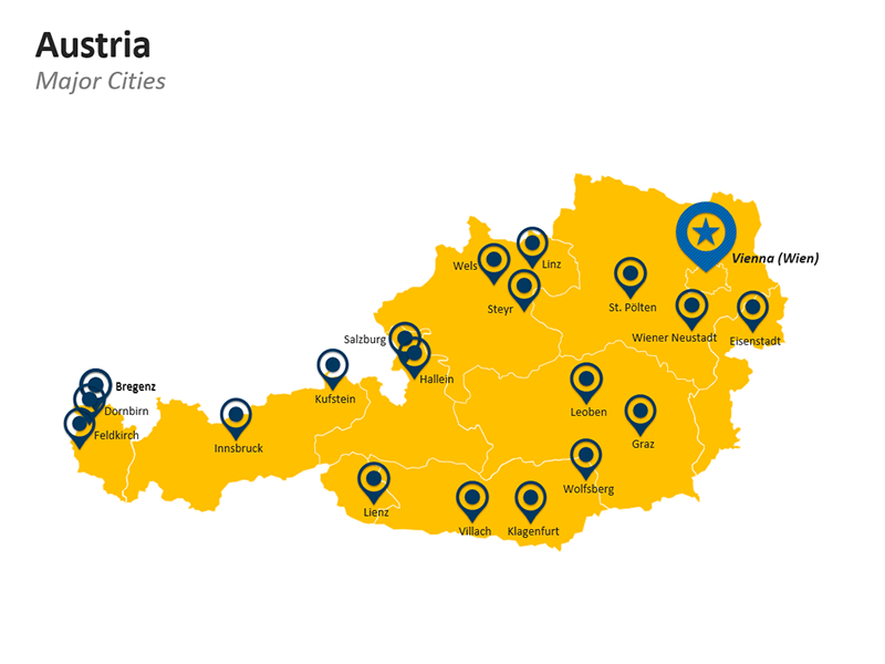 Cities Map of Austria - Editable PPT