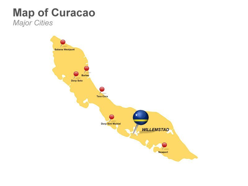 Curacao PPT Map featuring Major Cities