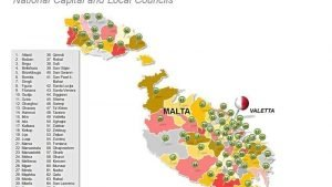 Malta National Capital and Local Councils Map