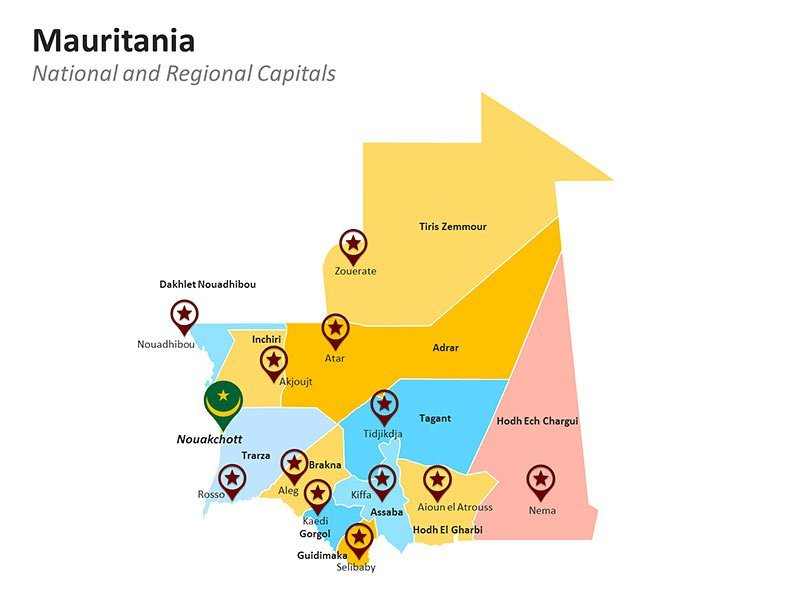 Mauritania with Regions Map of PowerPoint Slides