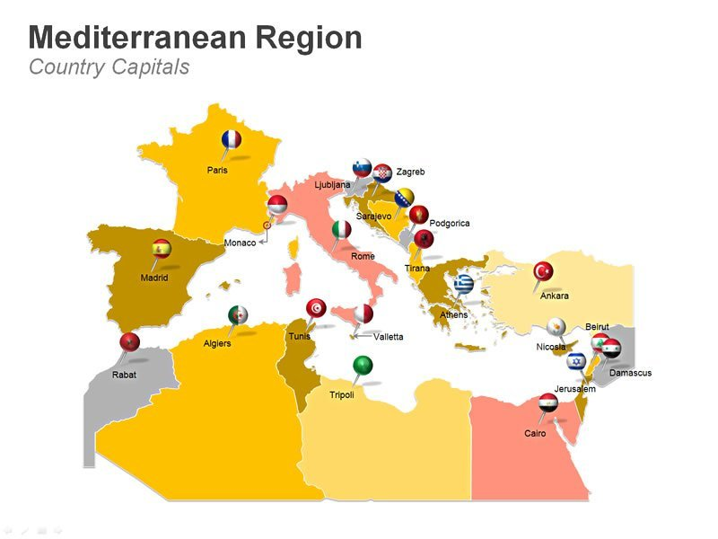 Editable PPT Slide with Illustration of Capitals of Mediterranean Countries