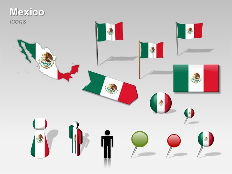 Flag and other icons for Mexico Map