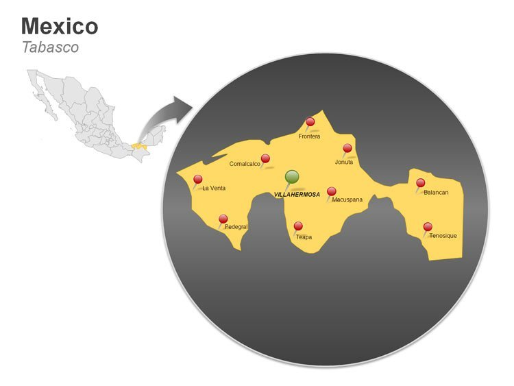 Map of Mexico PowerPoint Slides - Tabasco