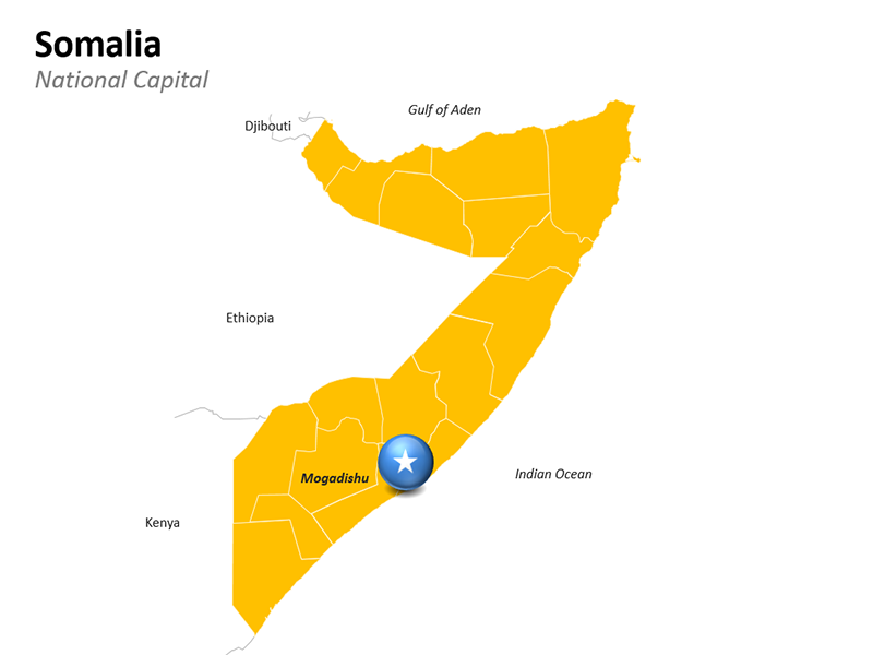 Mogadishu National Capital of SomaliaMap - Editable PowerPoint Slide