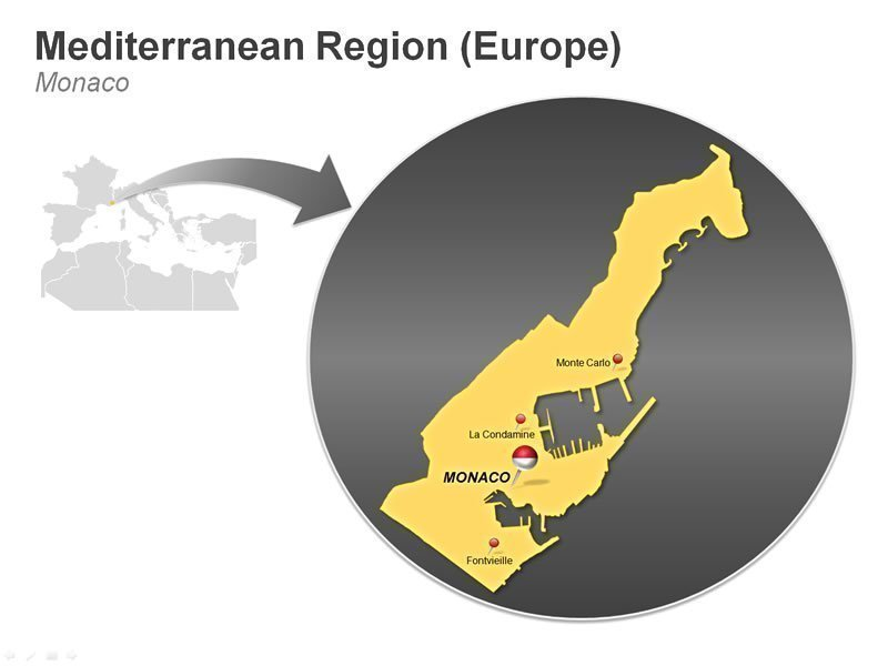 Editable PPT Graphics of Mediterranean Region of Monaco