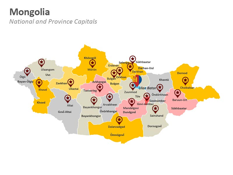Mongolia National and Province Capitals PPT Map