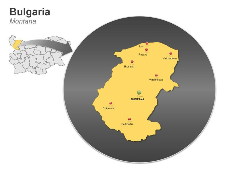PowerPoint Map of Bulgaria - Montana