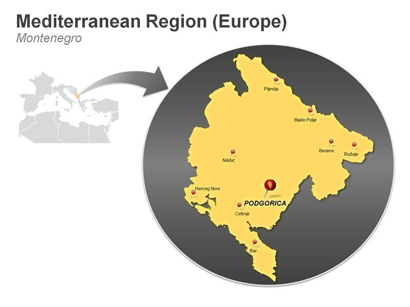 Editable PPT Illustrations of Mediterranean Region of Montenegro