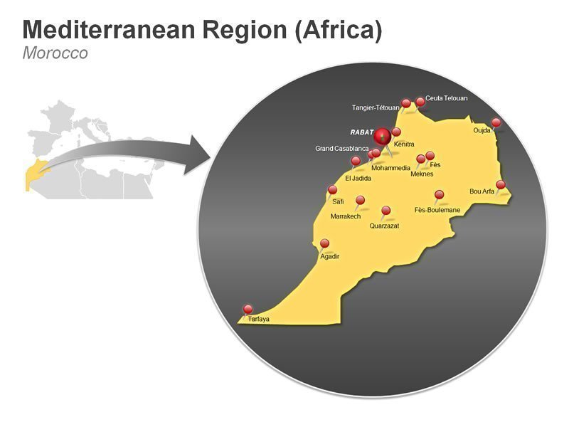 Editable PowerPoint Template of Mediterranean Region of Morocco