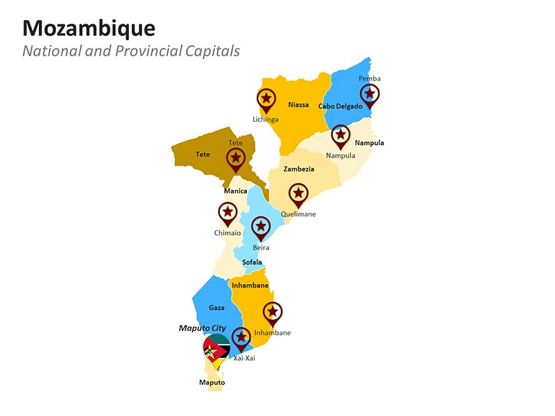 Mozambique Provinces - PowerPoint Map