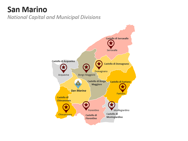 San Marino Map Municipalities - Editable PPT Template