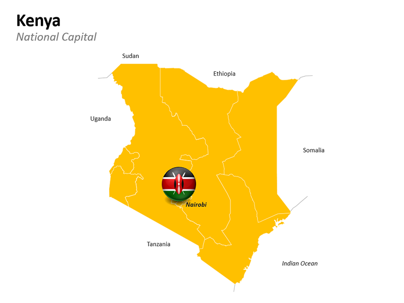 Kenya Map with National Capital Nairobi - Editable PowerPoint Slide