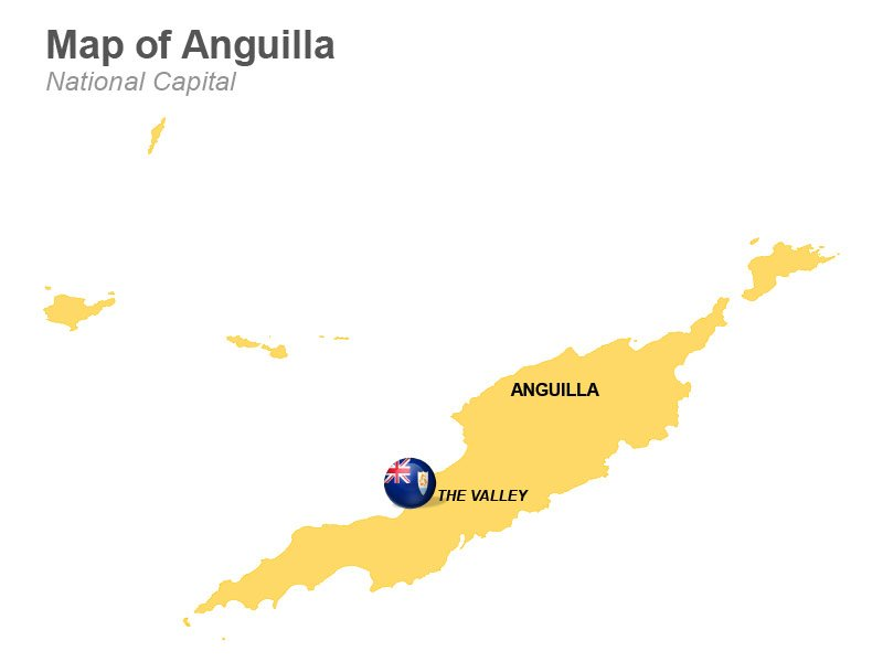 Vector Map of Anguilla Highlighting The Valley
