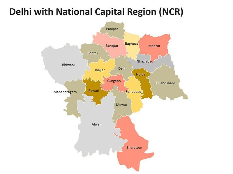 Delhi with National Capital Region (NCR): Editable PPT Map Slide