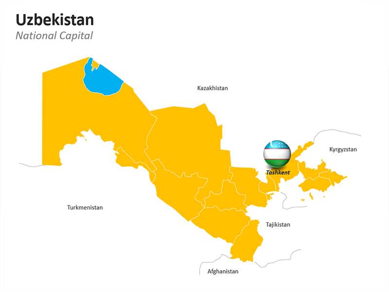 PowerPoint Geographical Map of Uzbekistan