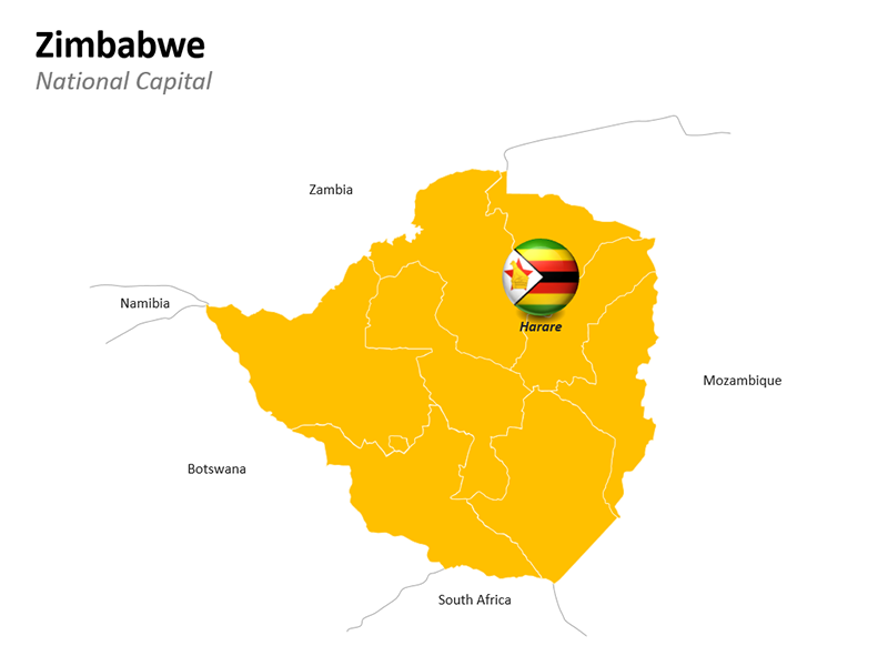 Zimbabwe with National Capital Harare - Editable PowerPoint Slide