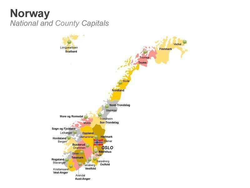 Country Capitals Norway Editable PowerPoint Presentation Oslo