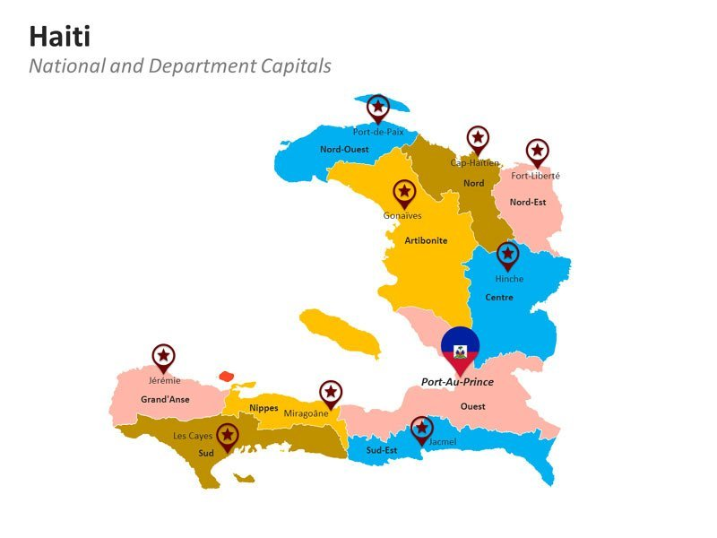 Departments of Haiti Map PPT