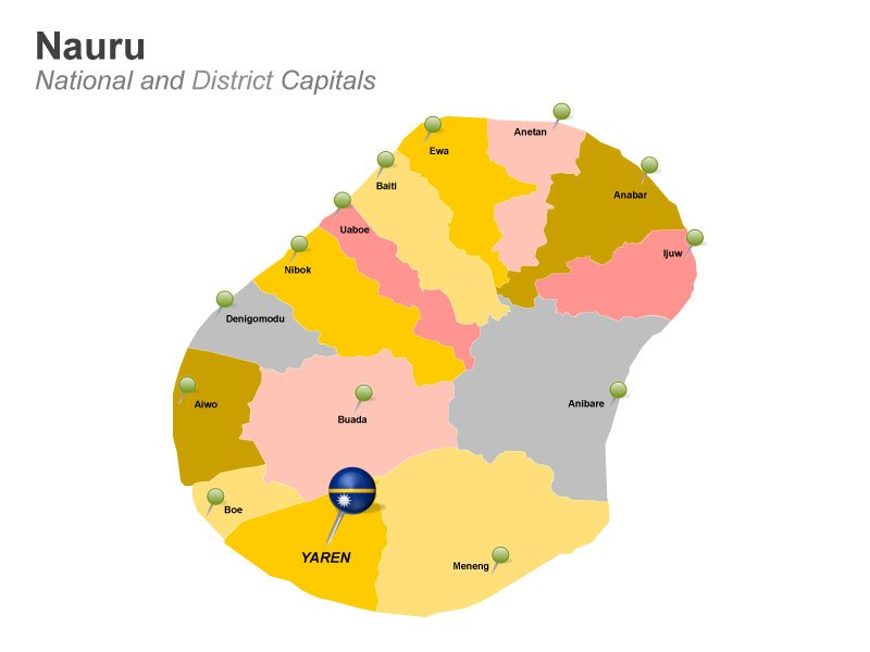 District capitals Nauru - editable Map for PowerPoint
