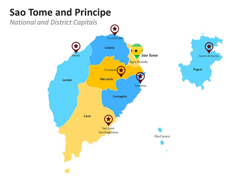 Sao Tome and Principe with District Capitals for PPT Presentations