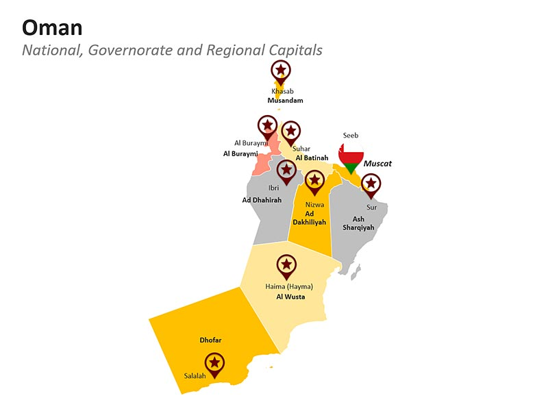 Oman  Map - National Governorate and Regional Capitals