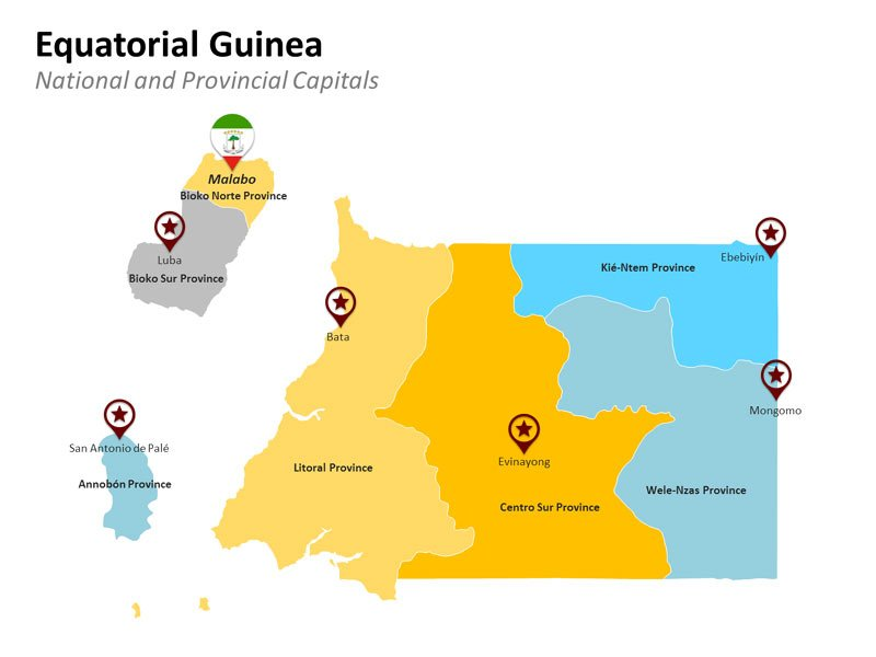 Provinces Map of Equatorial Guinea PPT