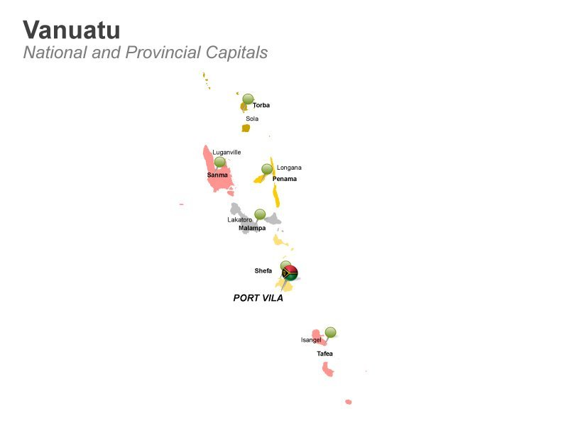 Editable PPT Slide - Provincial capitals of Vanuatu Port Vila
