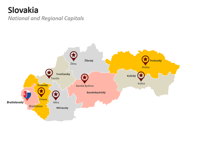 PowerPoint Map of Slovakia - Regional