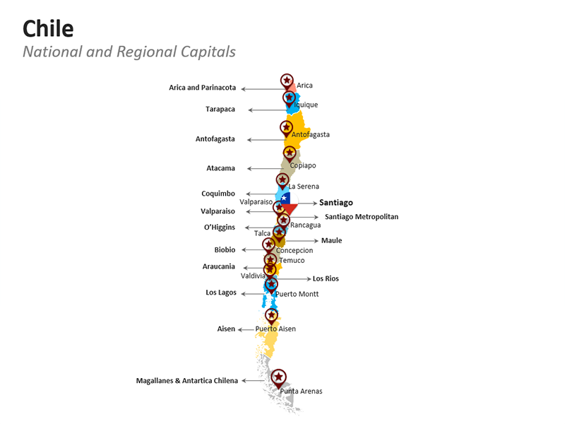 Chile National and Regional Capitals - PPT Map