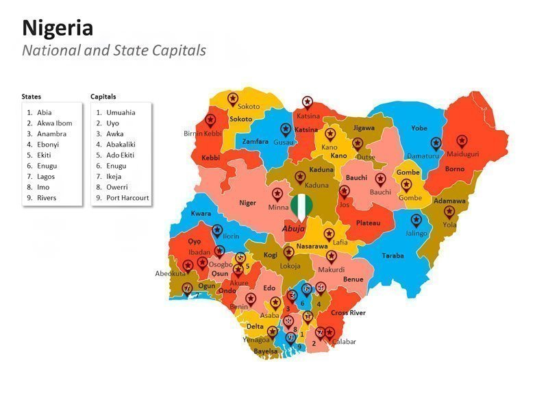 Nigeria National Capital Abuja PPT Map