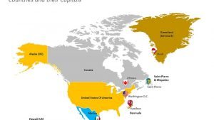North America with Countries and their Capitals Map - PowerPoint Slide