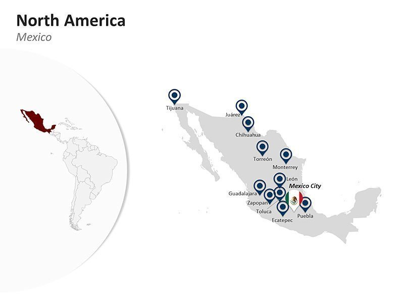 Editable PPT Slide of Map of Mexico in North America