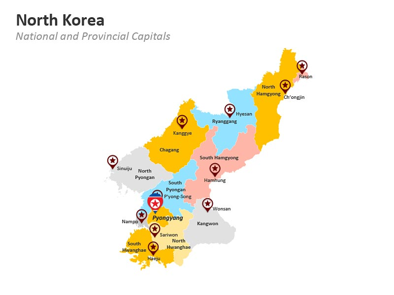 Map of North Korea Showing National and Provincial Capitals