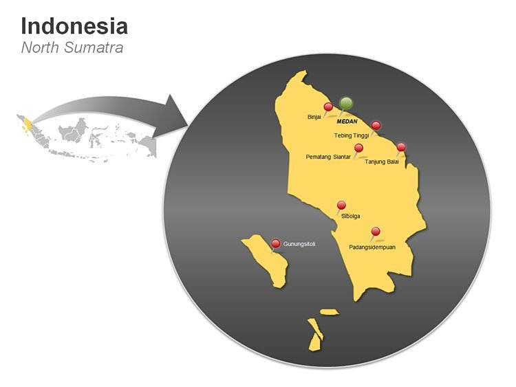 Indonesia PPT Map - North Sumatra