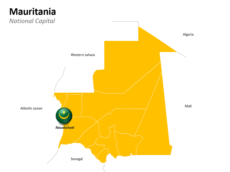 Nouakchott National Capital Mauritania Map - Editable PowerPoint Slide