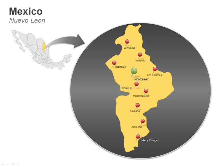 Map of Mexico PowerPoint Slides - Nuevo Leon
