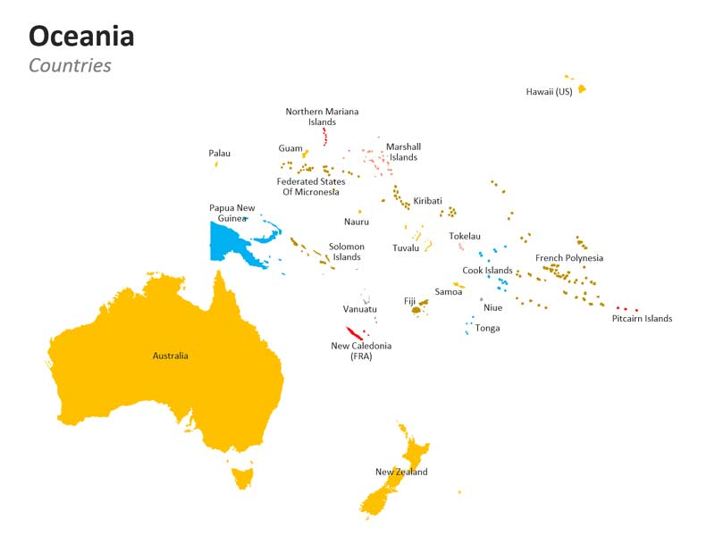 Oceania Countries PPT Map