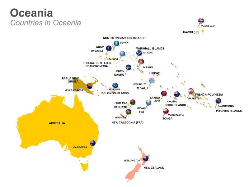 Countries in Oceania for PPT