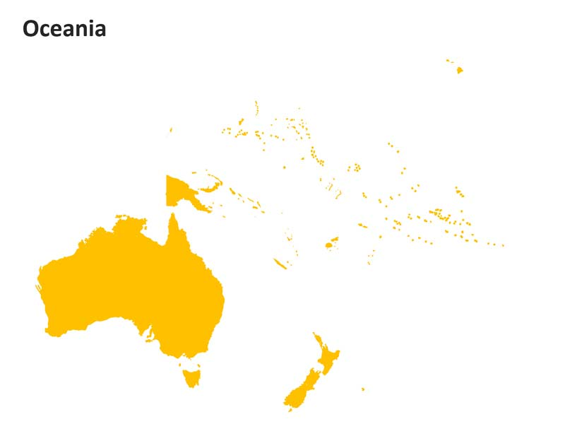 Oceania Outline Editable PPT Map