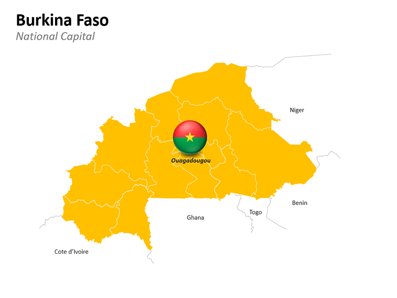 Burkina Faso Map with National Capital - Editable PowerPoint Slide