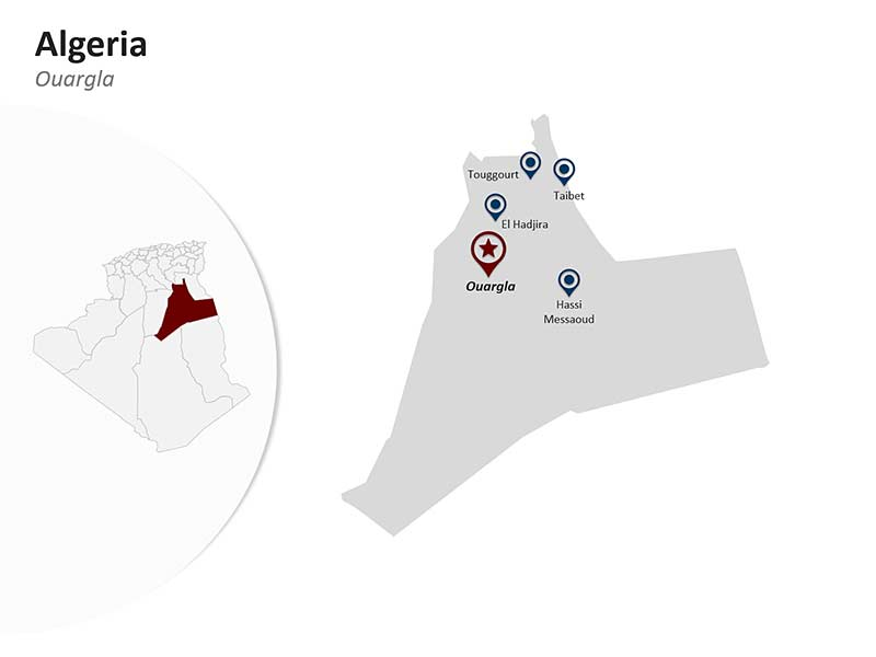 Algeria Map with Ouargla Province of Editable PowerPoint Presentation