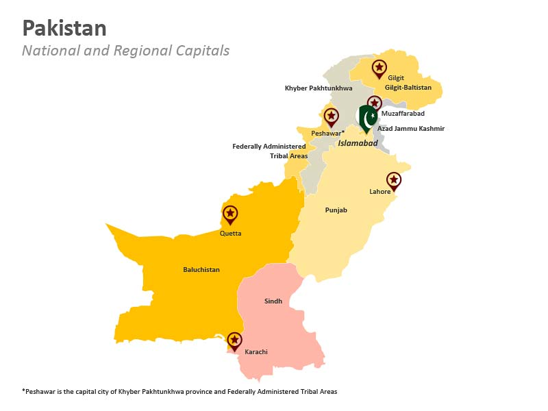 PPT Map of Pakistan - National and Provincial Capitals
