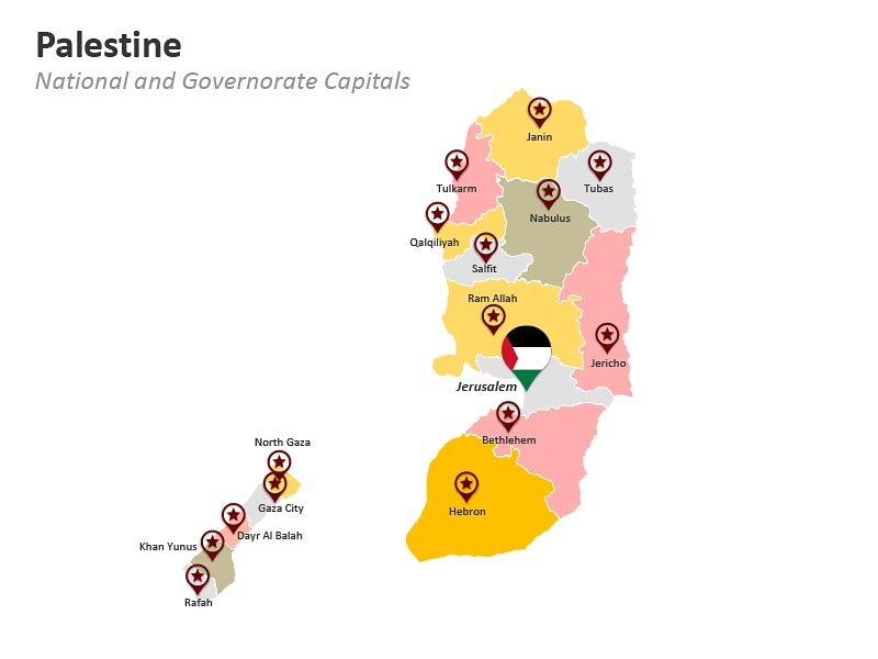 Palestine Map with Governorate Capitals