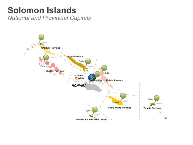 Solomon Islands - National and Provincial Capitals